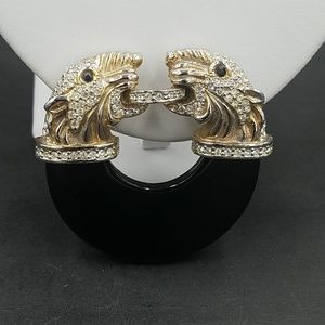 Vintage 1970's Rhinestone Double Panther Brooch